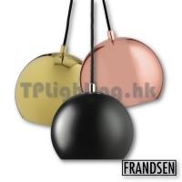 frandsen ball matt black glossy copper brass x3 pendant lamp