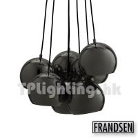 frandsen ball multi glossy black chrome 7x pendant lamp