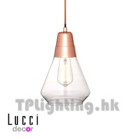010172 Ando 1 Light Pendant in Copper Glass