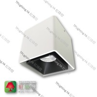 GD-9401-WH White Surface Black Inner Rectangular Single Head Aluminium Spotlight 盒仔燈 GU10