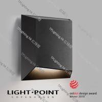 light point facet black outdoor wall lamp down